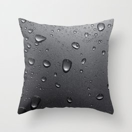 Water drops on metallic surface Throw Pillow