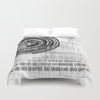 data Duvet Covers featuring Techno data ring #1 by Juliana RW