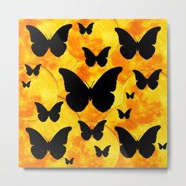 Harvest Gold Moons Black Butterfly Art Metal Print