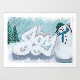 Joy Snowman Christmas Art Print