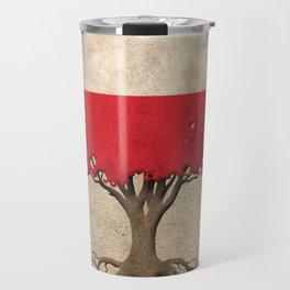 Vintage Tree of Life with Flag of Poland Travel Mug