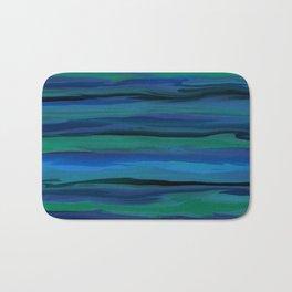 Slate Blue, Aqua, and Onyx Black Stripes Abstract Bath Mat