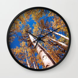 Aspen Trees Against The Sky In Crested Butte, Colorado Wall Clock