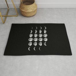 Phases of the Moon print black-white photo new lunar eclipse poster bedroom home wall decor Rug