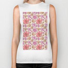 Modern botanical blush pink coral pastel yellow floral illustration Biker Tank