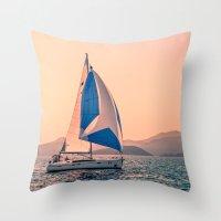 racing Throw Pillows featuring  Yacht racing by Svetlana Korneliuk