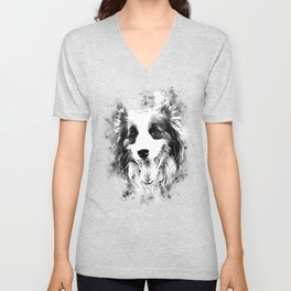 border collie shepherd dog splatter watercolor white Unisex V-Neck