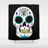 sugar skull Shower Curtains featuring Sugar Skull by Julie Erin Designs