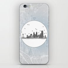 Seattle, Washington City Skyline Illustration Drawing iPhone & iPod Skin
