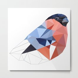 Geometric  bullfinch burd art Pink gray Metal Print