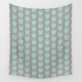 Potted Plants   Aqua & Gray Wall Tapestry