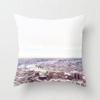 pittsburgh Throw Pillows featuring Ice Pittsburgh by clairemac