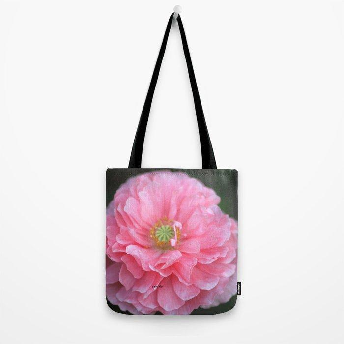 Pink Ruffled Poppy Flower Tote Bag