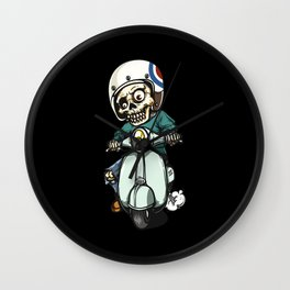 the skeleton ride motorcycle Wall Clock