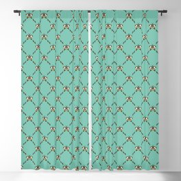 Stylized Butterfly Pattern // Geometric Butterfly // Mint Green and Mustard Yellow Blackout Curtain