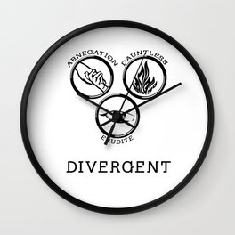 Divergent (Black) Wall Clock