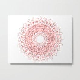 Red & white Mandala Metal Print