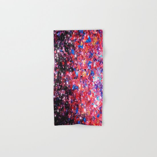 WRAPPED IN STARLIGHT Bold Colorful Abstract Acrylic Painting Galaxy Stars Pink Red Purple Ombre Sky Hand & Bath Towel