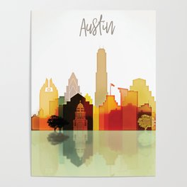 Austin colorful skyline Poster