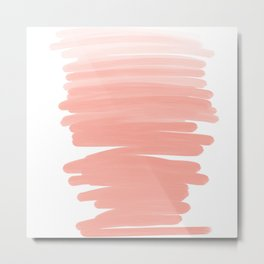 Modern abstract pink coral ombre brushstrokes pattern Metal Print