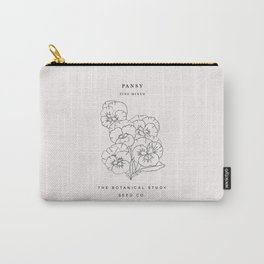 Botanical seed pack illustration - Pansy Carry-All Pouch