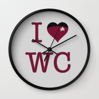 wesley bird Wall Clocks featuring I Heart Wesley Crusher by Illustrated by Jenny