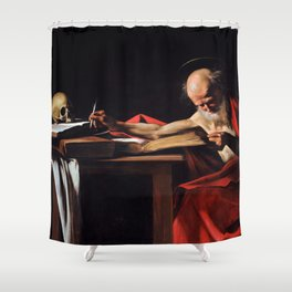 Saint Jerome Writing by Caravaggio (1606) Shower Curtain