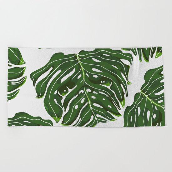 Monstera Pug Beach Towel