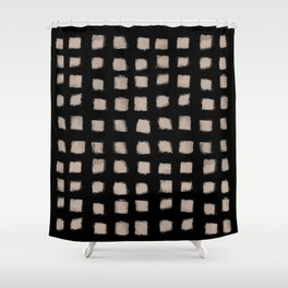 Polka Strokes - Nude on Black Shower Curtain
