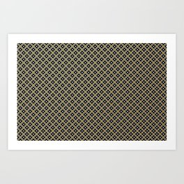 Smal black, white and gold dots pattern Art Print