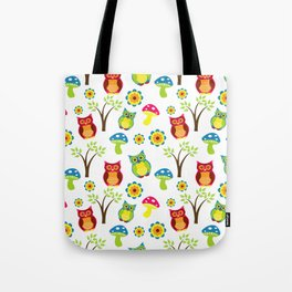 Cute Little Forest Owls Pattern Tote Bag