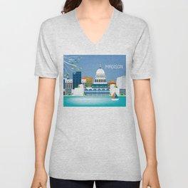 Madison, Wisconsin - Skyline Illustration by Loose Petals Unisex V-Neck
