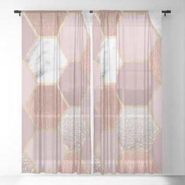 Indulgent desires rose gold marble Sheer Curtain