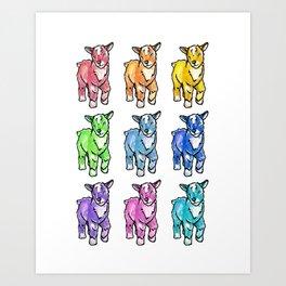 Rainbow Baby Goats Art Print