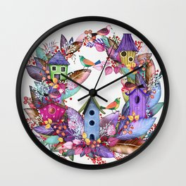 Ornament leaf wreath with aviaries and colorful birds Wall Clock