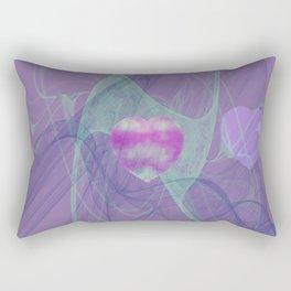 Heart Art- Abstract Art- Now or Later- Pink Heart- Purple Heart-Green-Pattern Art- Sacred Geometry Rectangular Pillow