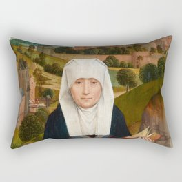 "Hans Memling""Old Woman at Prayer with St. Anne"" Rectangular Pillow"