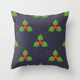 Red Christmas Mistletoe Pattern Throw Pillow