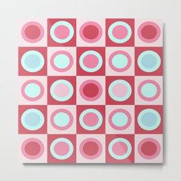 Pink Retro Circles Metal Print
