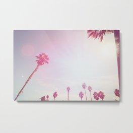 Pinky California Palms Metal Print