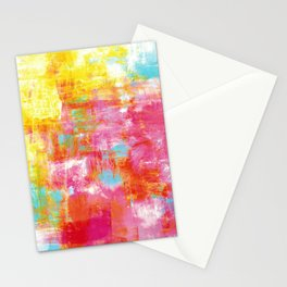 OFF THE GRID 2 Colorful Pink Pastel Neon Abstract Watercolor Acrylic Textural Art Painting Rainbow Stationery Cards