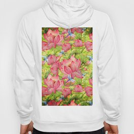 Floral Lotus Flowers Pattern with Dragonfly Hoody