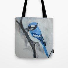 Blue Jay Wild Bird Acrylic Painting Tote Bag