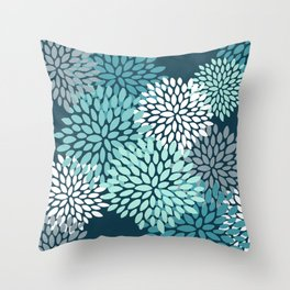 Modern Flowers Print, Teal and White Throw Pillow