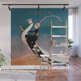 Art Deco White Peacock and Flapper Vintage Art Wall Mural