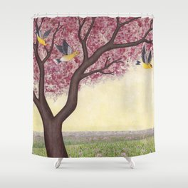 spring goldfinches Shower Curtain