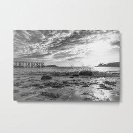Magnolia Pier Black and White Metal Print