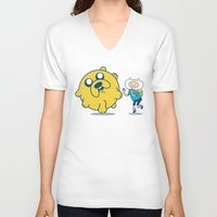 katamari V-neck T-shirts featuring Katamari Time! by MeleeNinja