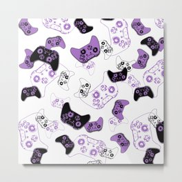 Video Game White & Lavender Metal Print
