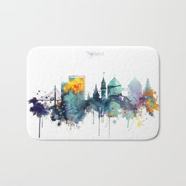Oakland California Blue  skyline print Bath Mat